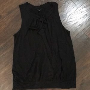 Talbots black top with keyhole and tie